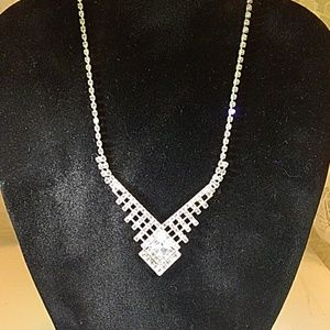 Silvertone statement rhinestone necklace